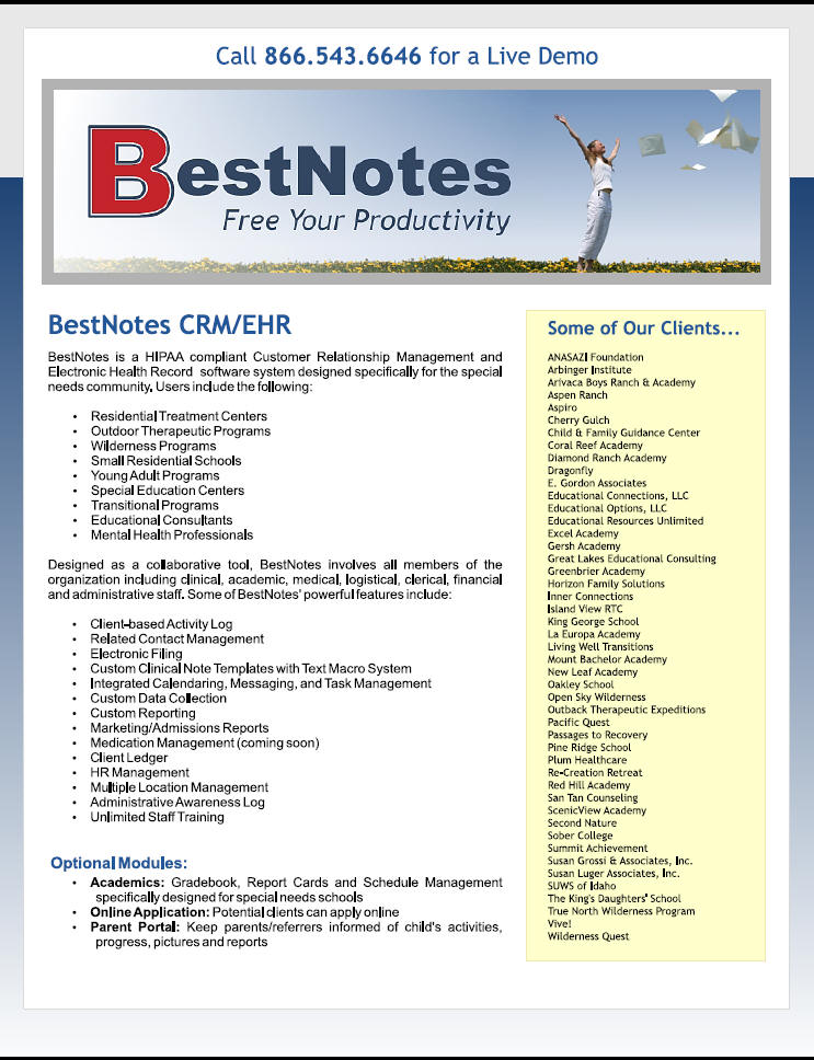 BestNotes EHR and EMR Mental Health Software System